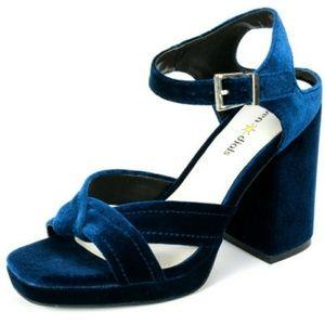 NWOT - Seven Dials Poliana Blue Velvet Heels 8.5